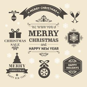 Satz der frohen weihnachten der medaille in der retro- art
