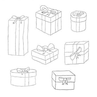 Satz der geburtstagsgeschenkkastensammlung mit hand gezeichneter art