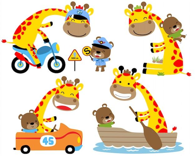 Satz der gelben giraffenkarikatur und des kleinen bären