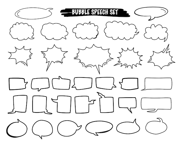 Satz der gezeichneten art des blasensprachekarikaturvektors in der hand