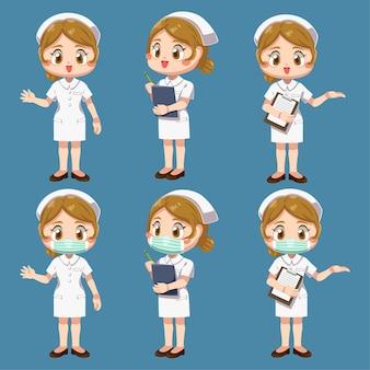 Satz der glücklichen frau in der krankenschwesteruniform mit unterschiedlichem handeln in der zeichentrickfigur, isolierte flache illustration