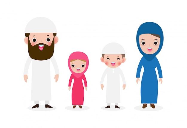 Satz der glücklichen muslimischen familie in der nationaltracht, arabischen muslimischen eltern mit kindern, mutter, vater, sohn und tochter niedlichen karikaturstil lokalisiert auf weißer hintergrundillustration