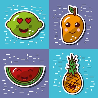 Satz der glücklichen reizenden karikatur der kawaii frucht