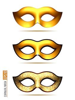 Satz der goldenen karnevalsmaske