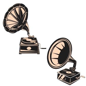 Satz der grammophone lokalisiert auf weißem hintergrund.