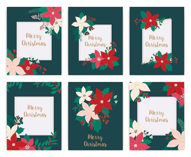 Satz der grußkarte der frohen weihnachten. blume, blumen.
