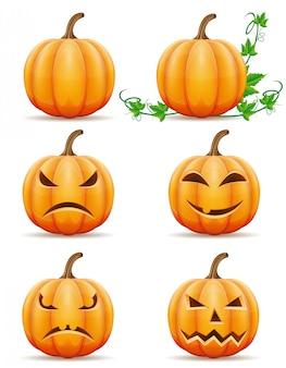 Satz der halloween-kürbisvektorillustration
