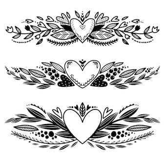 Satz der hand gezeichneten dekorativen ränder der liebe