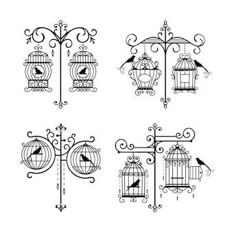Satz der hand gezeichneten hochzeitsvogelkäfigdekoration