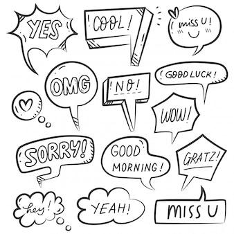 Satz der hand gezeichneten spracheblase
