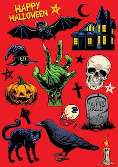 Satz der handzeichnung von halloween-gegenständen