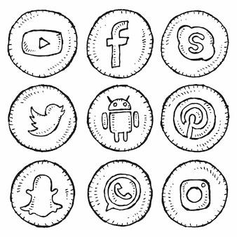 Satz der handzeichnungs-social media-ikonen