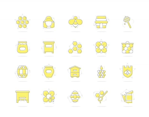 Satz der honiglinie farbige ikonen. biene, bienenwabe, fass, imker und mehr.