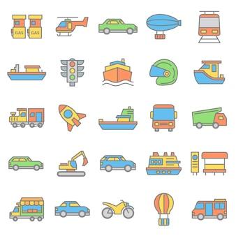 Satz der ikone des fahrzeugs und des öffentlichen transports