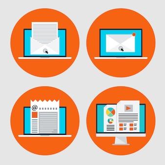 Satz der ikone des konzept-e-mail-marketings, onlinenachrichten in der flachen art