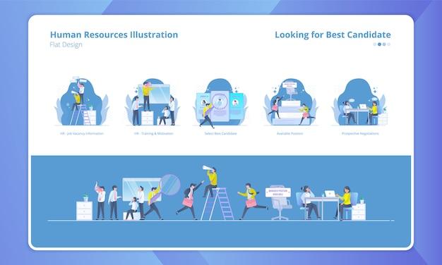Satz der illustration mit dem personalwesenthema, nach bestem kandidaten suchend