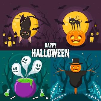 Satz der illustration von glücklichem halloween mit nettem schläger, katze, vogelscheuche und geistern heraus vom chemischen topf