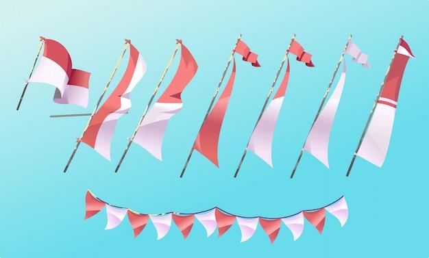 Satz der indonesischen flagge der karikatur-art.