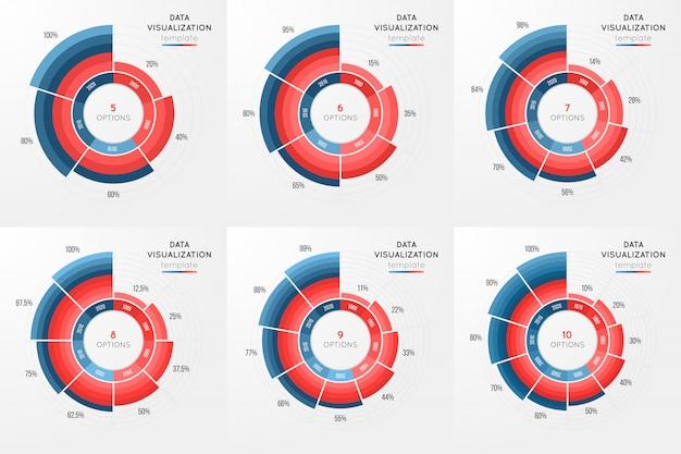 Satz der infographic schablone des vektorkreisdiagramms für daten