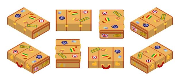 Satz der isometrischen liegenden gelben reisekoffer.