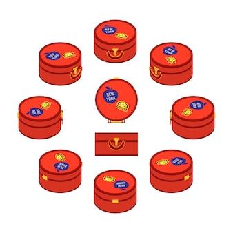 Satz der isometrischen roten runden reisendenkoffer.
