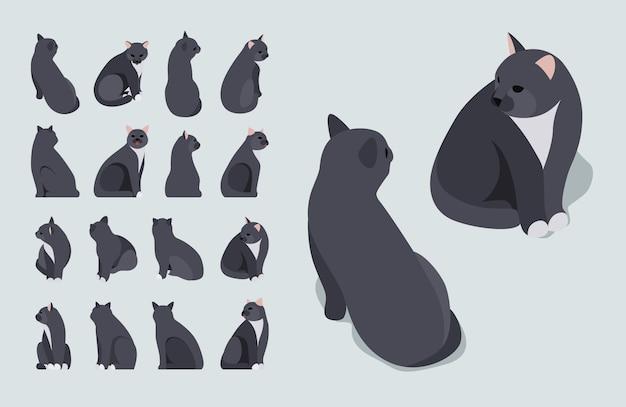 Satz der isometrischen schwarzen sitzenden katzen