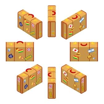 Satz der isometrischen stehenden gelben reisendenkoffer.