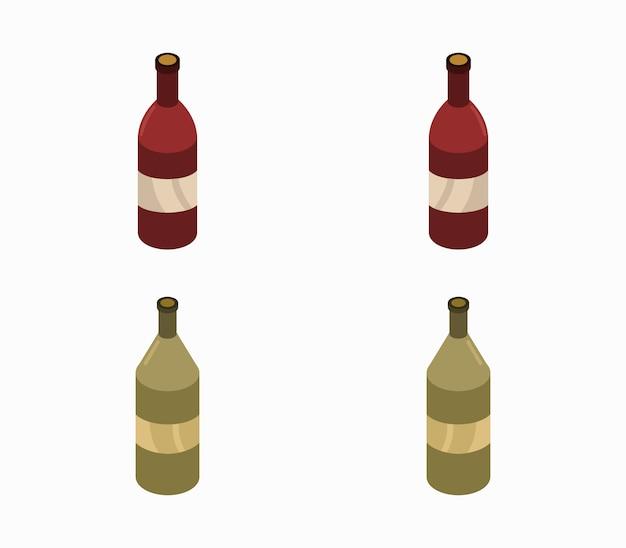 Satz der isometrischen weinflasche