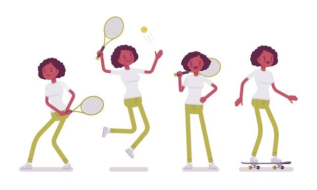 Satz der jungen frau des schwarzen oder des afroamerikaners, die sport tut