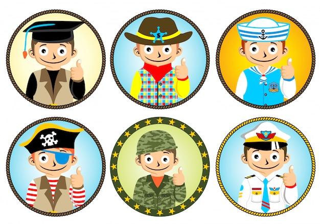 Satz der jungenkarikatur mit unterschiedlicher uniform