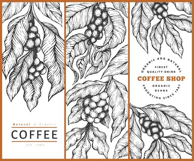 Satz der kaffeevektorschablone