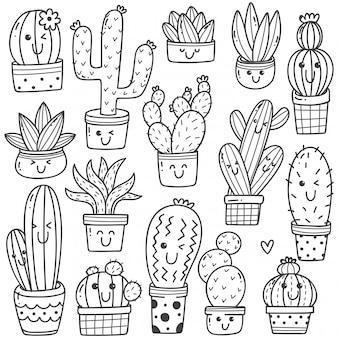 Satz der kaktuspflanze im kawaii gekritzel