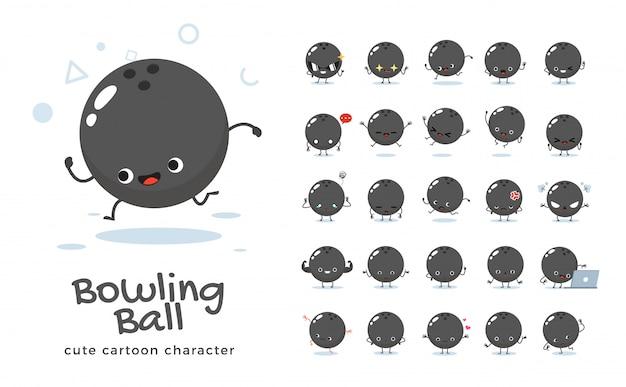 Satz der karikatur der bowlingkugel. illustration.