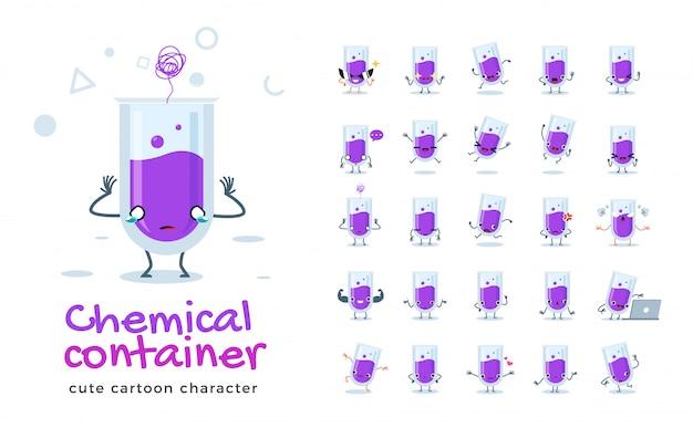 Satz der karikatur der chemischen röhre. illustration.