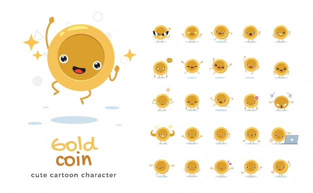 Satz der karikatur der goldenen münze. illustration.