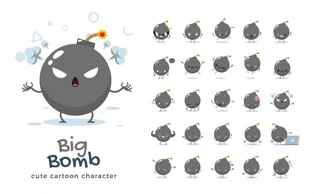 Satz der karikatur der großen bombe. illustration.