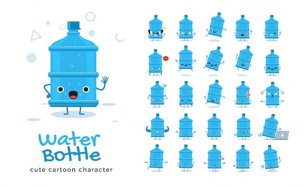 Satz der karikatur der wasserflasche. illustration.
