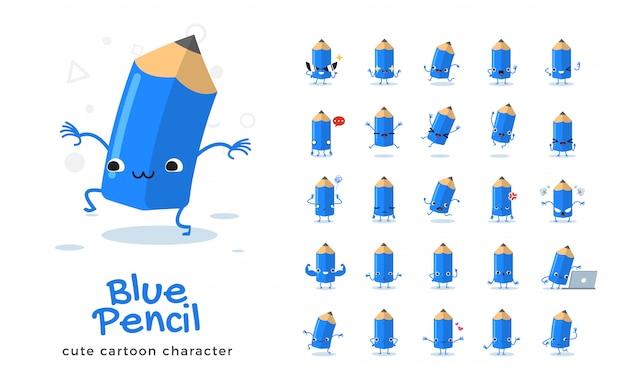 Satz der karikatur des blauen bleistifts. illustration.