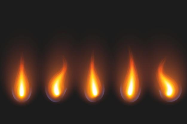 Satz der kerzenflamme in den goldenen und roten schatten