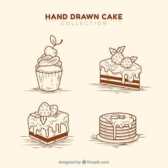Satz der köstlichen gezeichneten art der kuchen in der hand