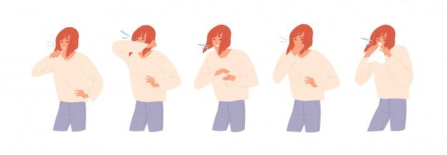 Satz der kranken frau, die niest, hustet und ihre nase flache illustration bläst.