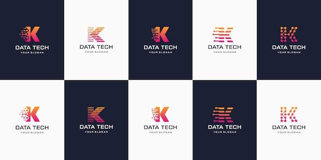 Satz der kreativen briefmarkierungsmonogrammbuchstaben-k-logo-vorlage