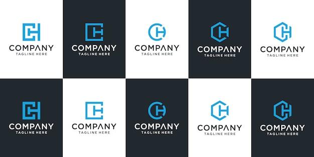 Satz der kreativen buchstaben-ch-logo-vorlage
