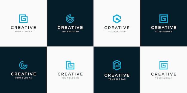 Satz der kreativen buchstaben-g-logo-vorlage
