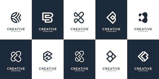 Satz der kreativen buchstabenmarkierungsmonogrammbuchstaben-b-logoschablone.