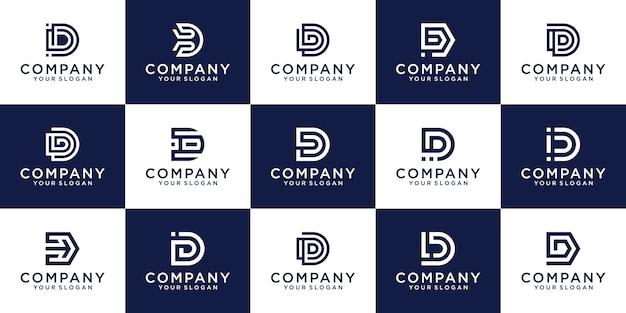 Satz der kreativen buchstabenmarkierungsmonogrammbuchstaben d-logoschablone.