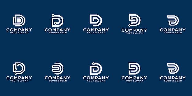 Satz der kreativen buchstabenmarkierungsmonogrammbuchstaben-d-logoschablone