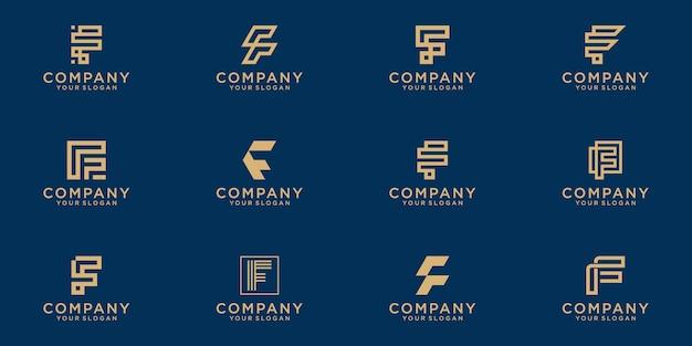 Satz der kreativen buchstabenmarkierungsmonogrammbuchstaben f-logoschablone.