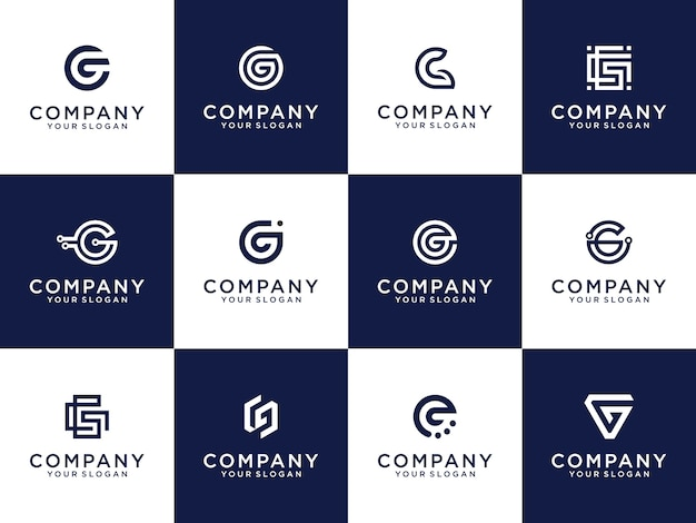 Satz der kreativen buchstabenmarkierungsmonogrammbuchstaben g-logoschablone.