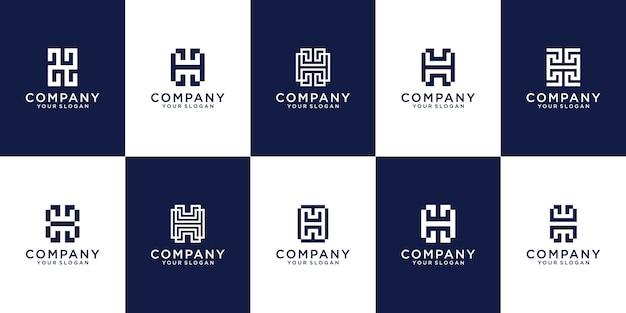 Satz der kreativen buchstabenmarkierungsmonogrammbuchstaben h logovorlage.